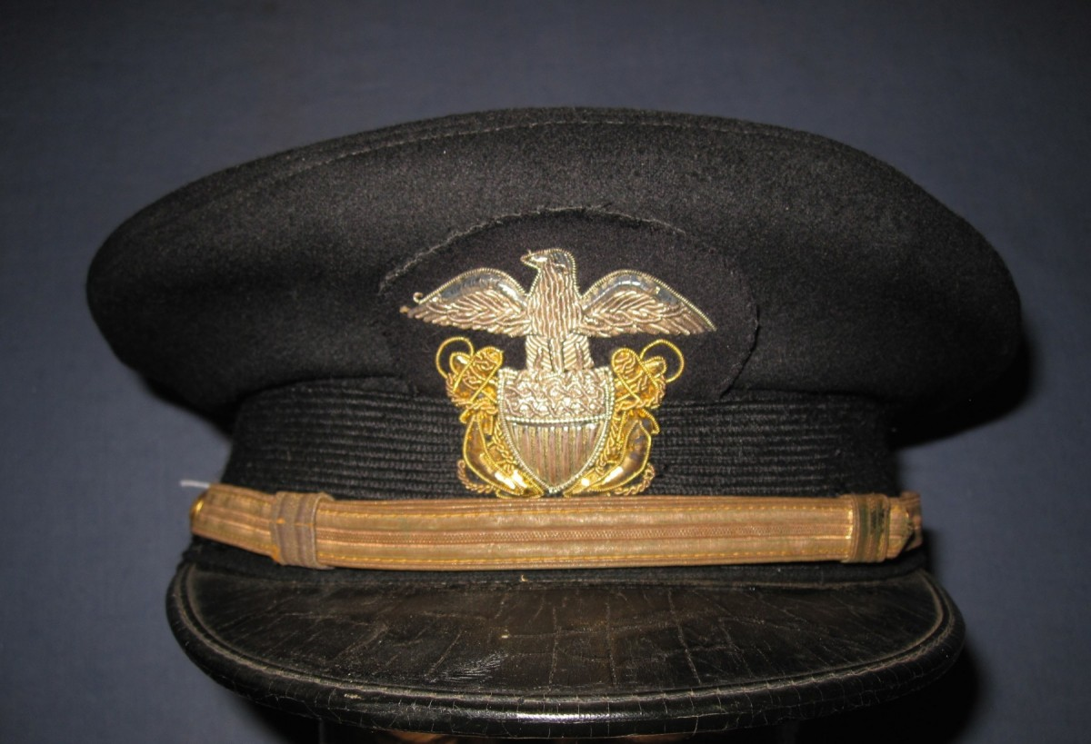 Wwii Navy Officer Hat With Blue Cover J Mountain Antiques