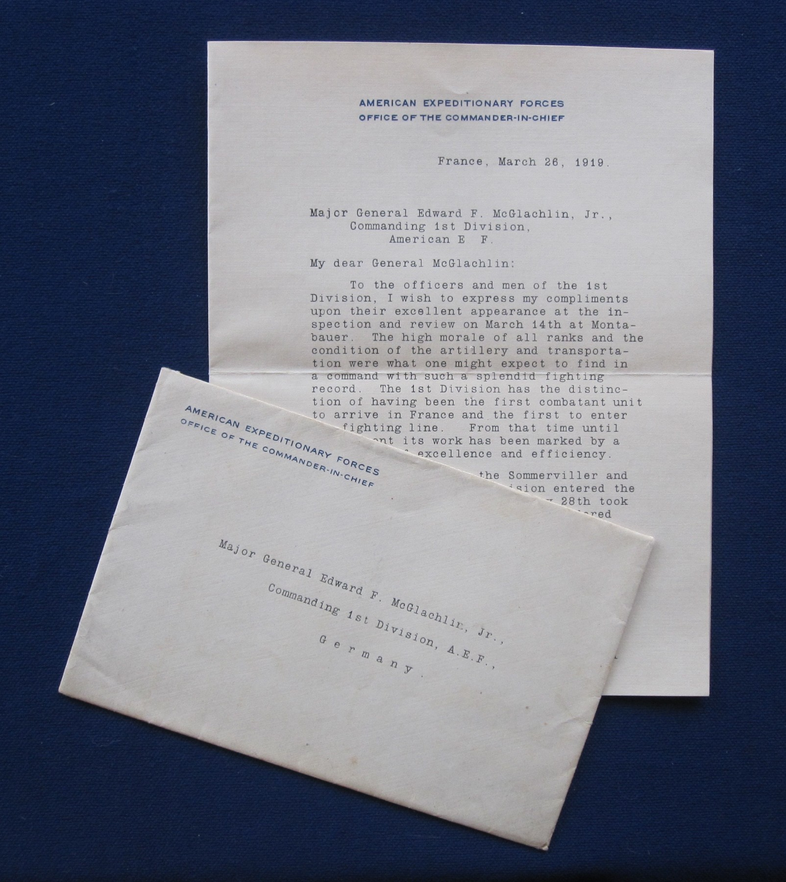Letter 1st Div Commander By Pershing