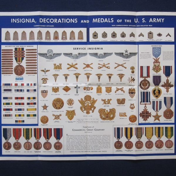 Wwii insignia decorations poster j mountain antiques for Army awards and decoration