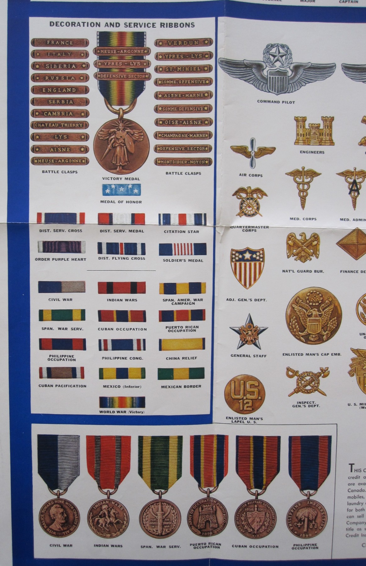 Wwii insignia decorations poster j mountain antiques for Chart paper decoration ideas